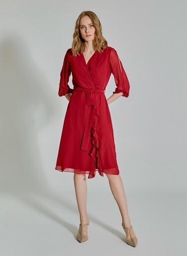 People By Fabrika Kol Detaylı Volanlı Şifon Elbise Bordo